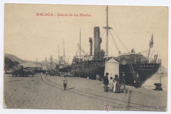 MALAGA-DETALLE DE LOS MUELLES (Postales - España - Andalucía Antigua (hasta 1939))