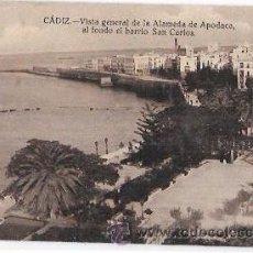 Cartes Postales: TARJETA POSTAL DE CADIZ. VISTA GENERAL DE LA ALAMEDA DE APOCADA, AL FONDO EL BARRIO SAN CARLOS.. Lote 54781500