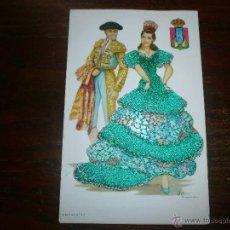Postales: POSTAL DE ANDALUCÍA, MUJER CON VESTIDO BORDADO CON HILO, TORERO Y ESCUDO. FIRMADA. Lote 54945484