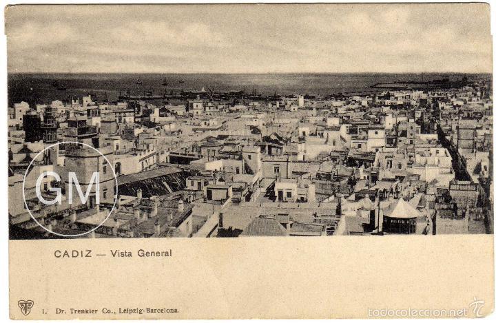 MAGNIFICA POSTAL - CADIZ - VISTA GENERAL (Postales - España - Andalucía Antigua (hasta 1939))