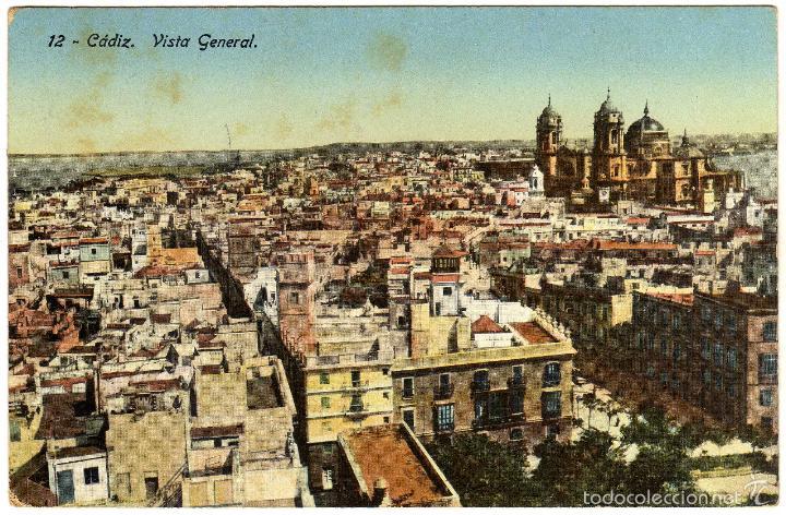 PRECIOSA POSTAL - CADIZ - VISTA GENERAL (Postales - España - Andalucía Antigua (hasta 1939))