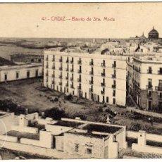 Postales: BONITA Y RARA POSTAL - CADIZ - BARRIO DE STA. MARIA - AMBIENTADA. Lote 57123334