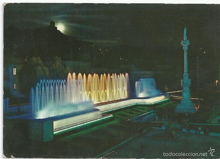 POSTAL GRANADA FUENTE MONUMENTAL DEL TRIUNFO (NOCTURNO) - ARRIBAS 1961 (Postales - España - Andalucia Moderna (desde 1.940))