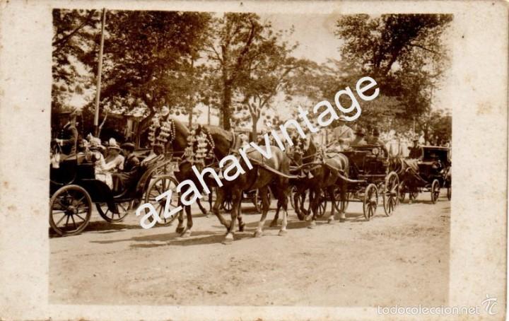 SEVILLA, AÑOS 20, COCHES DE CABALLO EN LA FERIA DE ABRIL, FOTOGRAFICA, JUAN JOSE SERRANO (Postales - España - Andalucía Antigua (hasta 1939))