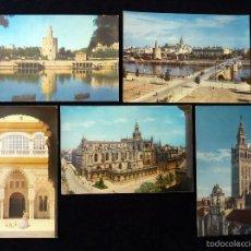 Postales: LOTE DE 5 ANTIGUAS POSTALES DE SEVILLA. FERRANDIA - Z. AÑOS 50. Lote 57880753