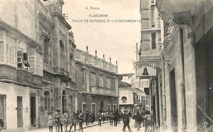 ALGECIRAS - CALLE DE ALFONSO XI Y AYUNTAMIENTO - HAUSER Y MENET (Postales - España - Andalucía Antigua (hasta 1939))