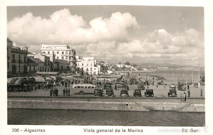 ALGECIRAS - VISTA GENERAL DE LA MARINA - ED SUR Nº306 - ANIMADA - COCHES (Postales - España - Andalucía Antigua (hasta 1939))