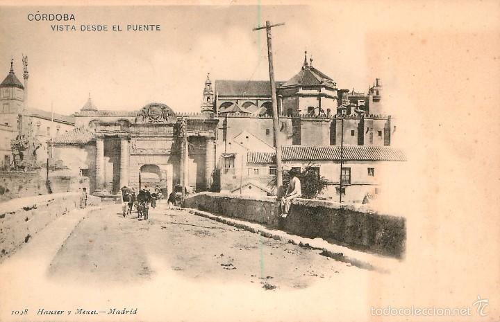 CORDOBA - VISTA DESDE EL PUENTE - HAUSER Y MENET Nº1098 - REVERSO SIN DIVIDIR (Postales - España - Andalucía Antigua (hasta 1939))