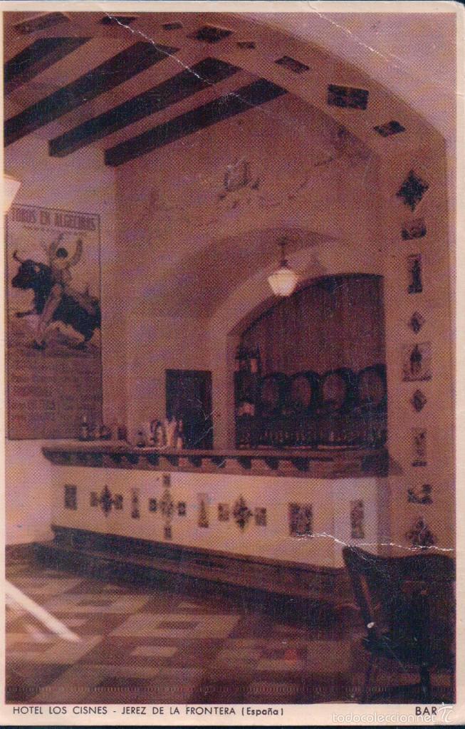 POSTAL JEREZ DE LA FRONTERA.- HOTEL LOS CISNES - BAR. GRAFICA MANEN (Postales - España - Andalucía Antigua (hasta 1939))
