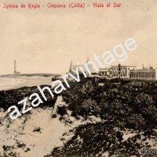 Postales: TARJETA POSTAL ANTIGUA DE CHIPIONA, (CADIZ) SANATORIO E IGLESIA DE REGLA - VISTA AL SUR.C.R.S.. Lote 58479291