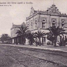 Postales: HUELVA. ESTACIÓN DEL FERRO CARRIL A SEVILLA – PAPELERÍA MORA Y CA. . Lote 59830304