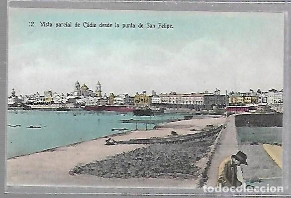 TARJETA POSTAL CADIZ - VISTA PARCIAL DE CADIZ DESDE LA PUNTA DE SAN FELIPE. 12. (Postales - España - Andalucía Antigua (hasta 1939))