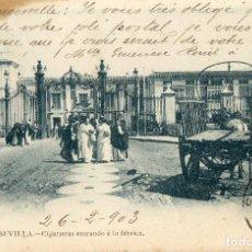 Postales: POSTAL ANTIGUA - NUMERO 8 SEVILLA CIGARRERAS ENTRANDO EN LA FABRICA. Lote 63376400
