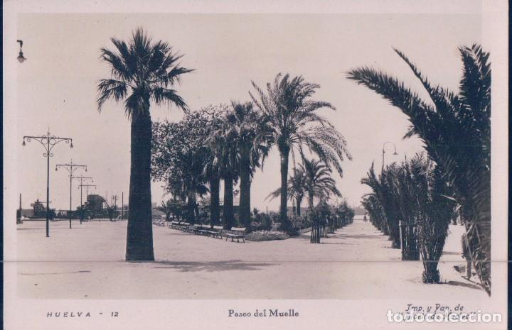 POSTAL DE HUELVA - N. 12 - PASEO DEL MUELLE. DIARIO HUELVA. GUILERA BARCELONA. (Postales - España - Andalucía Antigua (hasta 1939))