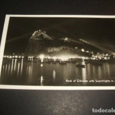 Postales: GIBRALTAR THE ROCK WITH SEARCHLIGHTS IN ACTION. Lote 68694465