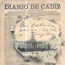 Postales: TARJETA POSTAL DE CADIZ. DIARIO DE CADIZ Y SU DEPARTAMENTO. HAUSER Y MENET. - MADRID.. Lote 69239869