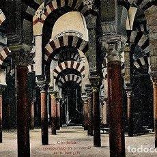 Postales: CORDOBA.INTERCOLUMNIO EN EL INTERIOR DE LA MEZQUITA.CIRCULADA EN 1918. Lote 72155559