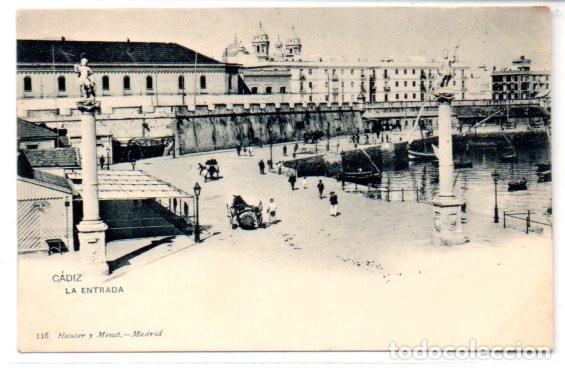 TARJETA POSTAL, CADIZ,LA ENTRADA,HAUSER Y MENET. (Postales - España - Andalucía Antigua (hasta 1939))