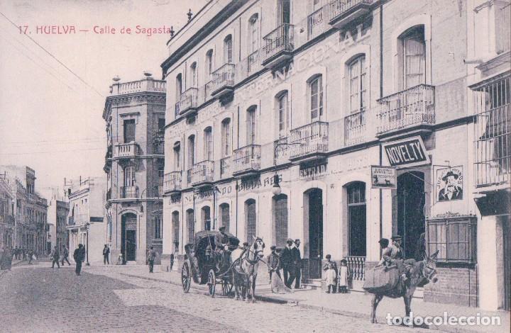 POSTAL HUELVA - CALLE DE SAGATA - 17 INGLESA (Postales - España - Andalucía Antigua (hasta 1939))