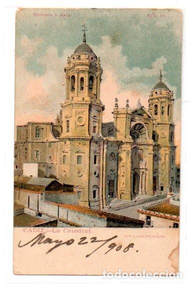 TARJETA POSTAL, CADIZ,LA CATEDRAL. FOT. LAURENT. (Postales - España - Andalucía Antigua (hasta 1939))