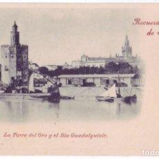 Postales: RECUERDO DE SEVILLA: LA TORRE DEL ORO Y EL RÍO GUADALQUIVIR. SIN DIVIDIR. NO CIRCULADA (1897). Lote 74193599