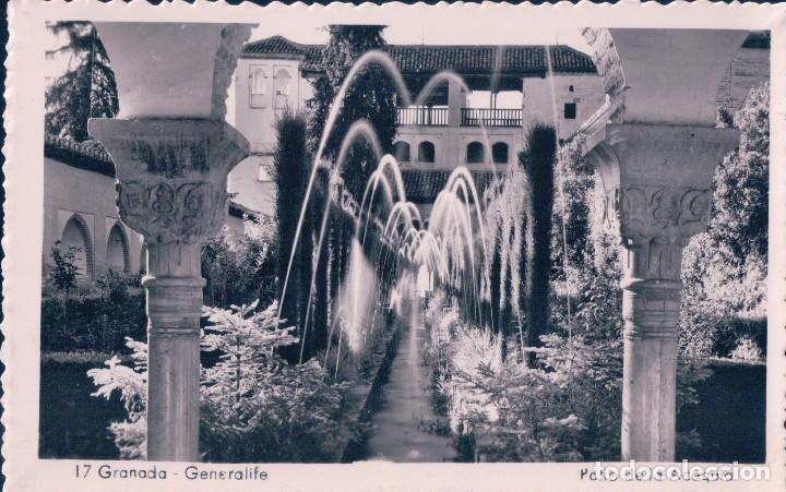 POSTAL DE GRANADA. GENERALIFE, PATIO DE LA ACEQUIA. 17 (Postales - España - Andalucía Antigua (hasta 1939))