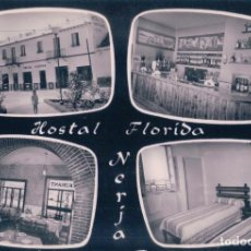 Postales: POSTAL NERJA, HOSTAL FLORIDA, CUATRO IMAGENES. HABITACIONES, BAR,RESTAURANTE. ED. SOM-CEREZO. Lote 74851711