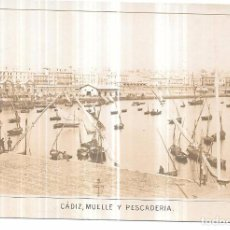 Postales: TARJETA POSTAL DE CADIZ. MUELLE Y PESCADERIA. REVERSO PUBLICIDAD. JOSE GARCÍA DE COSIO Y DIAZ.. Lote 75285203