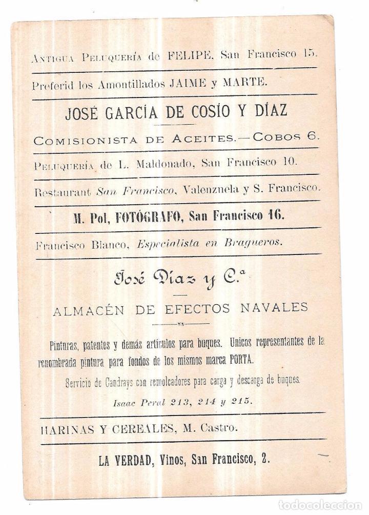 Postales: TARJETA POSTAL DE CADIZ. MUELLE Y PESCADERIA. REVERSO PUBLICIDAD. JOSE GARCÍA DE COSIO Y DIAZ. - Foto 2 - 75285203