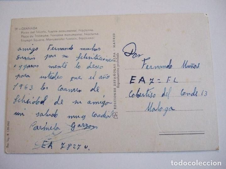 Postales: POSTAL GRANADA - PLAZA DEL TRIUNFO - FUENTE MONUMENTAL NOCTURNO - 1962 - ESCRITA SIN CIRCU - Foto 2 - 77869185