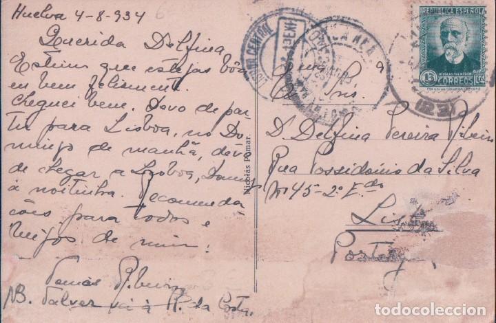 Postales: POSTAL HUELVA: PLAZA DE LAS MONJAS . EDICIÓN NICOLAS POMAR 11 - CIRCULADA - Foto 2 - 93187690