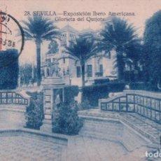 Postales: POSTAL SEVILLA - EXPOSICION IBERO AMERICANA - GLORIETA DEL QUIJOTE 28 - GRAFOS. Lote 94162395