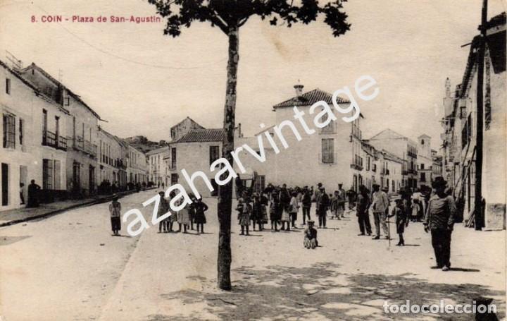 COIN, MALAGA, PLAZA DE SAN AGUSTIN, MUY RARA (Postales - España - Andalucía Antigua (hasta 1939))