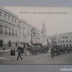 Postales: SEVILLA. PLAZA DE LA CONSTITUCIÓN Y AUDIENCIA. ANIMADA CON CARRETAS.. Lote 96814143