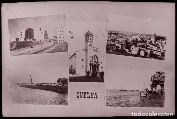 CLICHE ORIGINAL - HUELVA, NEGATIVO EN CELULOIDE - VISTAS - RECUERDO - EDICIONES ARRIBAS (Postales - España - Andalucía Antigua (hasta 1939))