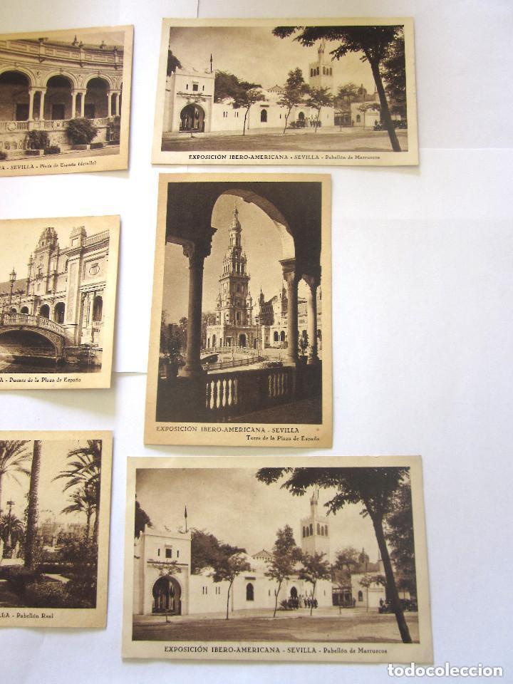 Postales: Sevilla Exposición Iberoamericana 8 postales Pabellón de Sevilla Inaguración Ibero Americana - Foto 4 - 97120135