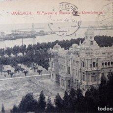 Postales: P-7343. MÁLAGA. EL PARQUE Y NUEVA CASA CONSISTORIAL. AÑO 1920. CIRCULADA.. Lote 97511883