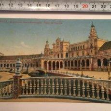 Postales: POSTAL. SEVILLA. EXPOSICIÓN IBERO AMERICANA. PLAZA DE ESPAÑA. C. R. S. H. 1920. Lote 98813362