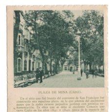 Postales: PLAZA DE MINA - CADIZ. Lote 100230443