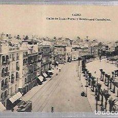 Postales: TARJETA POSTAL DE CADIZ - CALLE DE ISAAC PERAL Y BOULEVARD CANALEJAS. HAUSER Y MENET. Lote 100562839