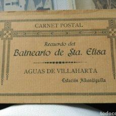 Postales: LOTE 10 POSTALES COMPLETO CARNET POSTAL RECUERDO BALNEARIO SANTA ELISA AGUAS VILLAHARTA ALHONDIGUIL. Lote 101379408
