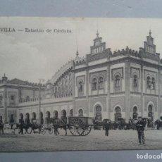 Postales: ESTACIÓN DE CÓRDOBA, SEVILLA. ANIMADA, CON CARROS DE CABALLOS.. Lote 102517767