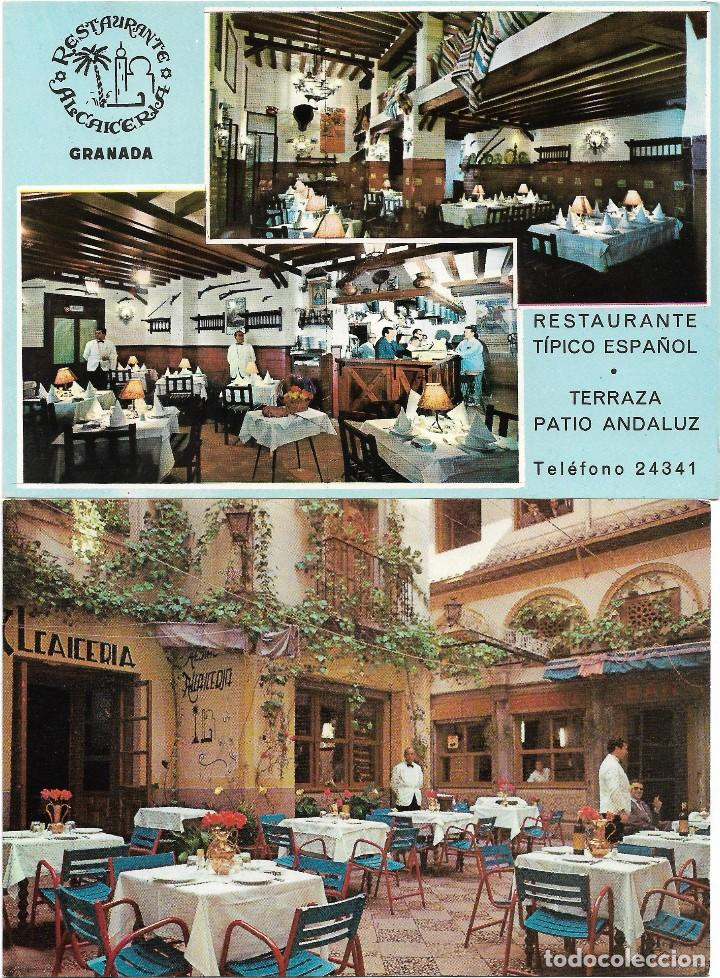 GRANADA .- RESTAURANTE ALCAICERIA .- 2 POSTALES FOTO COLOR VALMAN (Postales - España - Andalucia Moderna (desde 1.940))