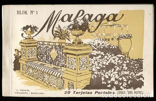 MALAGA BLOC COMPLETO CON 20 POSTALES L. ROISIN, FOTO. (Postales - España - Andalucía Antigua (hasta 1939))