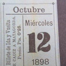Postales: BILLETE IDA VUELTA VAPOR CADIZ MATAGORDA EJIDO ALMERIA 12 OCTUBRE 1898 QUIZAS COMPAÑIA TRASATLANTICA. Lote 114077719