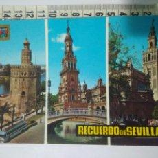 Postales: ANTIGUA POSTAL RECUERDO DE SEVILLA AÑOS 80 TORRE ORO,LA GIRALDA,ETC.ESCUDO ORO 66. Lote 114289550