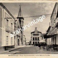 Postales: MARMOLEJO, PLAZA DEL AYUNTAMIENTO Y CALLE PALACIO VALDES, EDIT,FRANCISCO SOLIS, MUY RARA. Lote 114369915