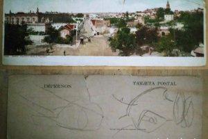 Sevilla Postal doble Panorama desde la Pasadera 27,5cm x 9,5cm Postales de Andalucía 7509
