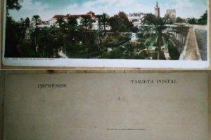 Sevilla Postal doble Panorama Jardines del Alcázar 27,5cm x 9cm Postales de Andalucía