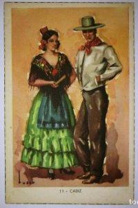 CADIZ - Tuser - Postal Trajes tipicos españoles - Laietana - serie 5507 - 11 cadiz - 13,7cm x 8,9cm